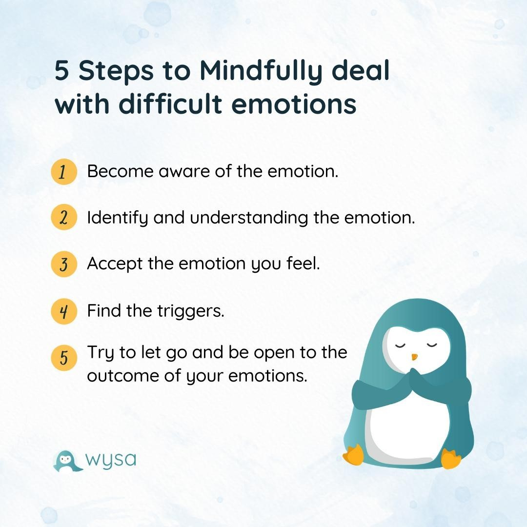 Some situations are difficult to deal with and you might not know how to cope with them. 😵 Follow these steps to better understand your emotions and deal with them mindfully. Tag and share this to raise awareness! Talk through your feelings or vent with Wysa mental health chatbot