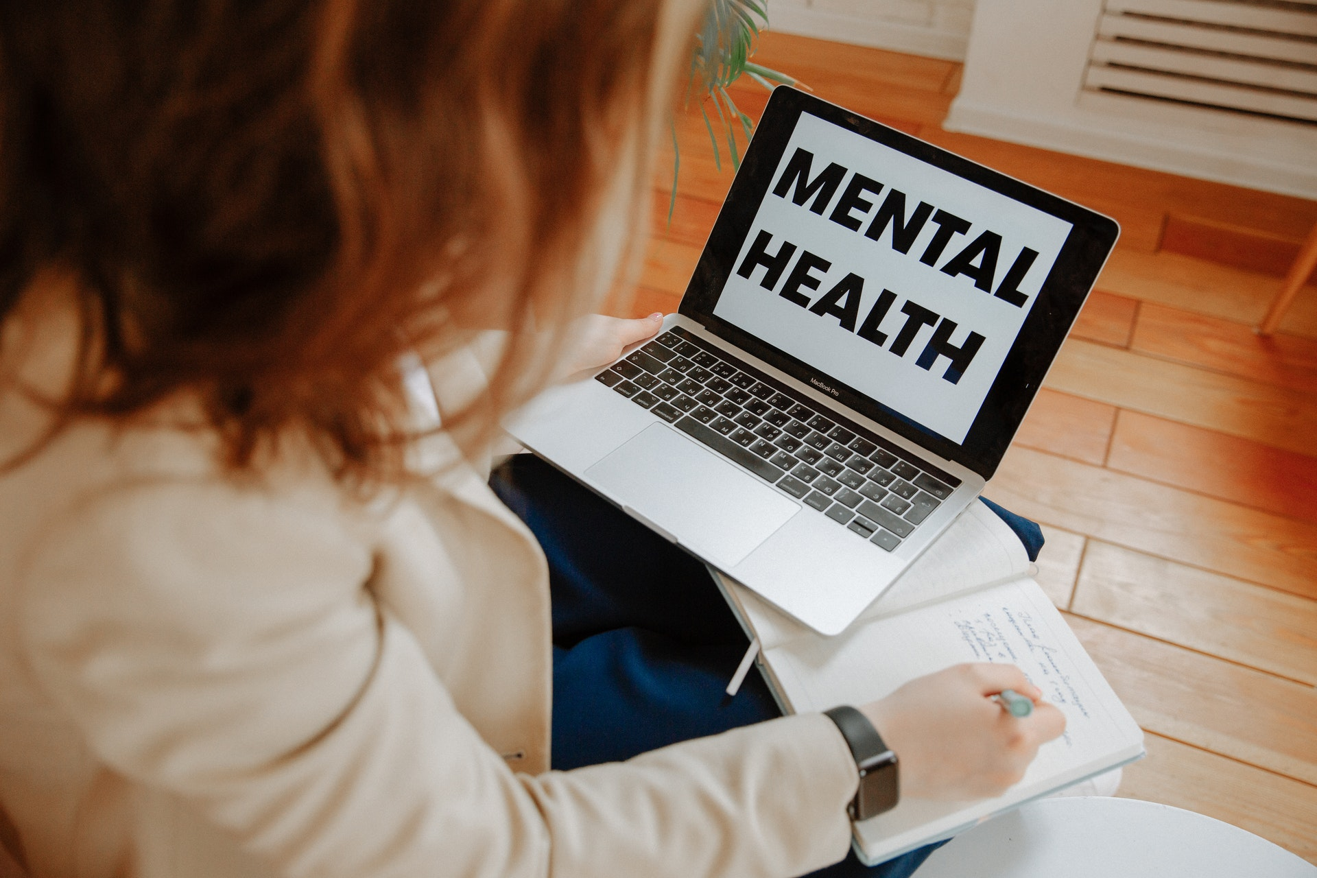 computer screen with mental health chatbot