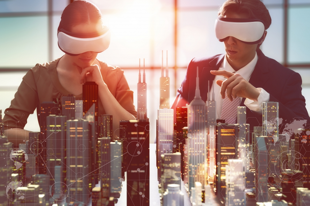 two business persons are developing a project using virtual reality goggles. the concept of technologies of the future part of our vr use cases