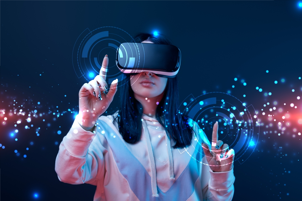 Virtual Reality Use Cases a lady is wearing vr headset while touching an augmented screen in front of her